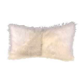 Modern Faux White Fur Pillows - A Pair For Sale