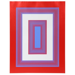 Richard Anuszkiewicz - Red, White and Blue Framed Screenprint For Sale
