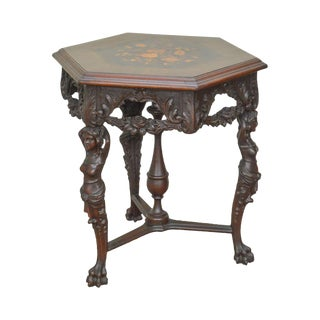 Renaissance Revival Antique Marquetry Inlaid Center Table W/ Figural Carved Woman For Sale