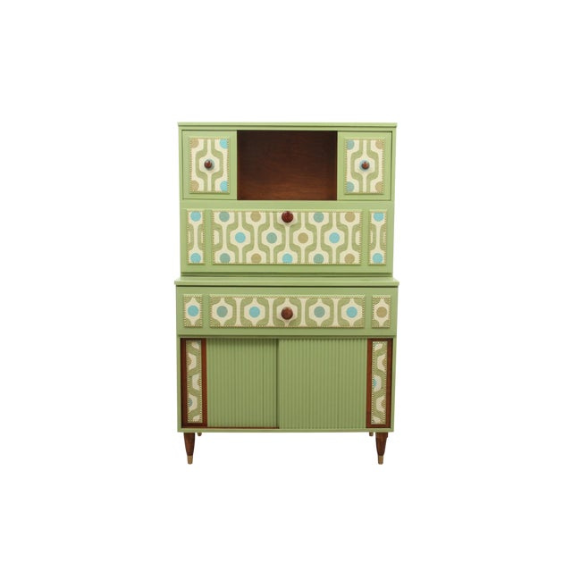 Mid Century Modern Cabinet in Green For Sale