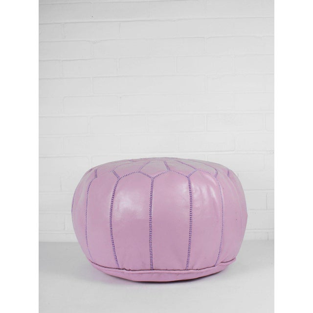 Boho Chic Modern Moroccan Vintage Pink Pouf For Sale - Image 3 of 5