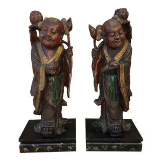 HeHe Erxian Twins Chinese Carved Wood Statues - A Pair For Sale