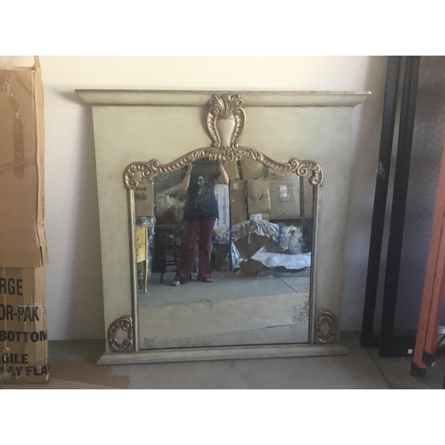 Gray Contemporary Antiqued Silver Fireplace Mirror For Sale - Image 8 of 9