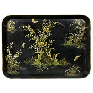 Early Victorian Papier Mache Tray For Sale