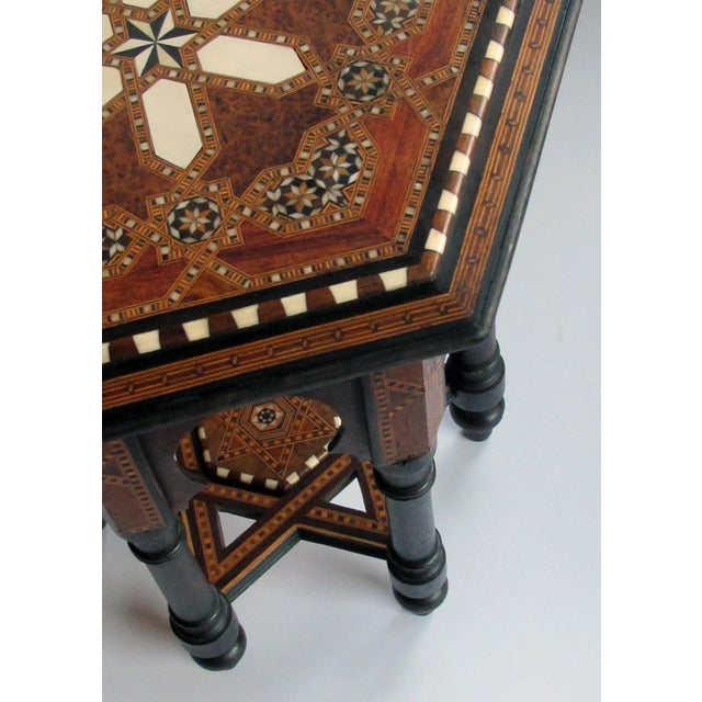 1900 - 1909 An Intricately Inlaid Syrian Hexagonal Table For Sale - Image 5 of 6