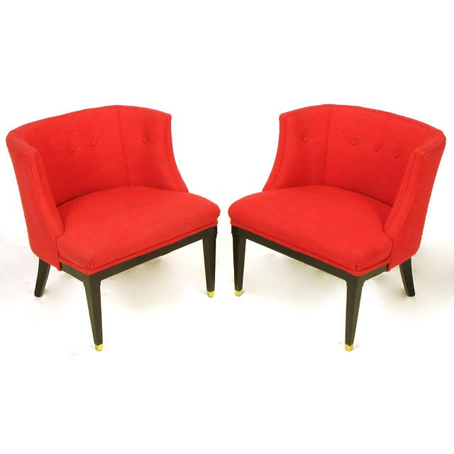 Pair of Button Tufted Red Wool and Dark Walnut Pull Up Wing Chairs - Image 3 of 10