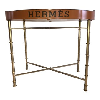 Orange Hermés Tray With Faux Gold Bamboo Base