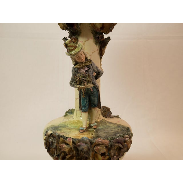 Majolica French Pottery Lamp - Image 4 of 8
