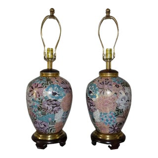 Frederick Cooper Hand Painted Porcelain & Brass Ginger Jar Table Lamps - a Pair For Sale