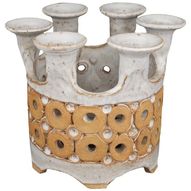 1960s Stoneware Crown Candelabra by Hal Lasky for Isla Del Sol Pottery For Sale