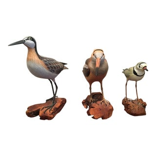 Vintage Set of 3 Wood & Metal Realistic Figurine Birds For Sale