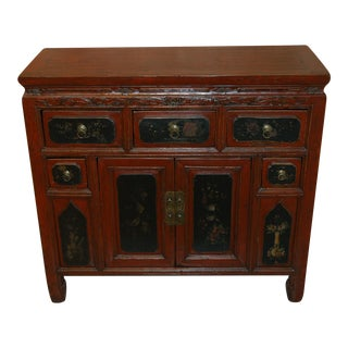 Antique Red Chest With Drawers