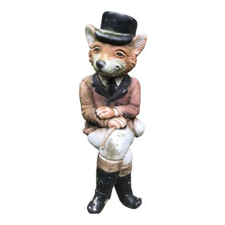 Antique English Stone Mr. Fox Hand Painted Garden Statue For Sale
