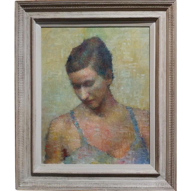 Stevan Kissel - Portrait of a Female Dancer - Oil Painting - Pointillism For Sale
