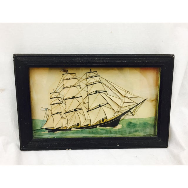 19th Century Ship Diorama in Frame - Image 11 of 11