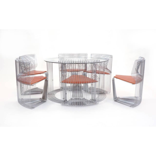 "1970s Verner Panton ""Pantonova"" Dining Set of Dining Table and Six Chairs For Sale - Image 5 of 11"