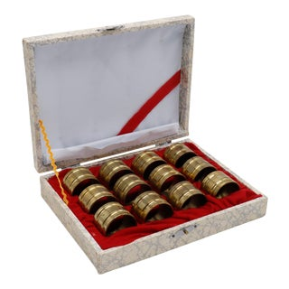 Brass Napkin Rings in Original Box - Set of 12 For Sale
