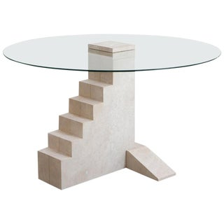 Round Staircase Table, French Limestone, Hand-Sculpted, Rooms For Sale