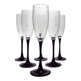 Black Amethyst Aubergine Champagne Flutes - Set of 6