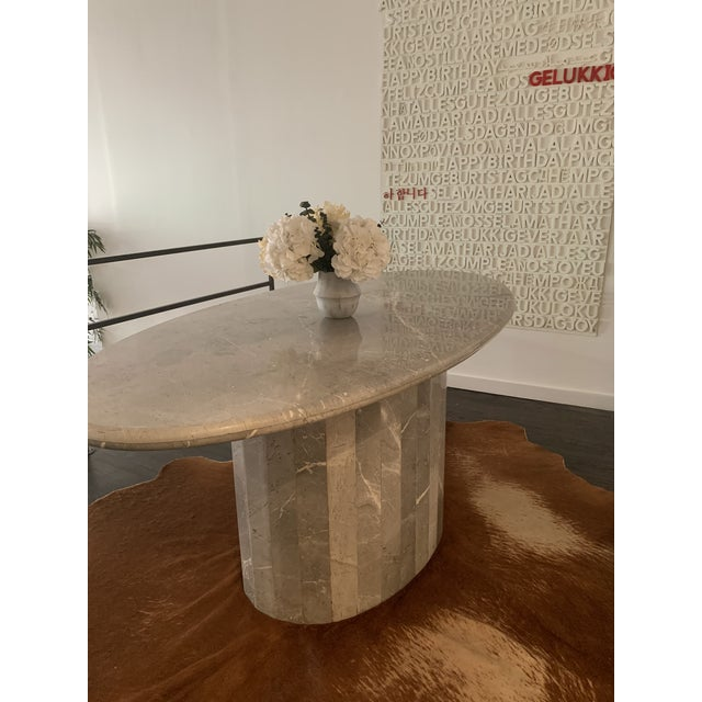 Gray Vintage 1970s Italian Ovoid Marble Dining Table For Sale - Image 8 of 9