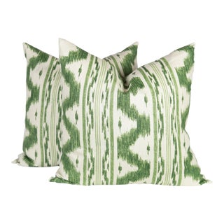 Green and Ivory Ikat Linen Pillows, a Pair For Sale