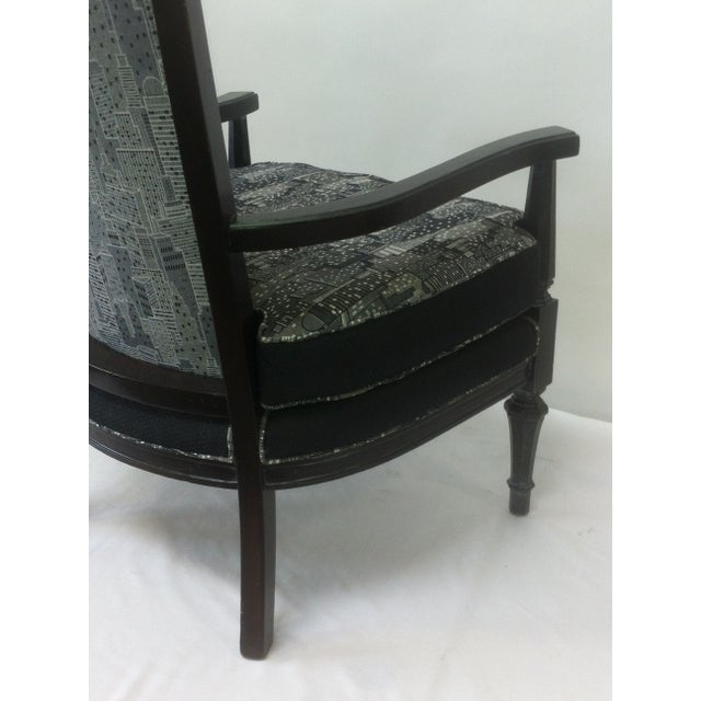 Vintage Armchair in Contemporary Cityscape Fabric - Image 3 of 4