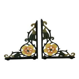 Mid Century Painted Iron Corner Brackets- A Pair For Sale