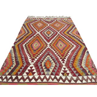 "1950's Antalya Kilim Multicolor Handmade Rug-5'9'x8'10"" For Sale"