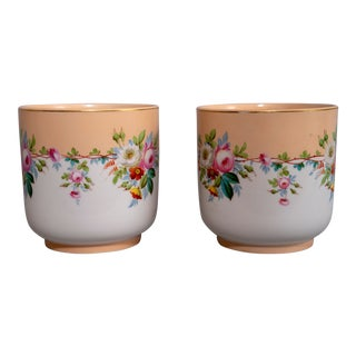 Mid 20th Century French Porcelain Pots - a Pair For Sale