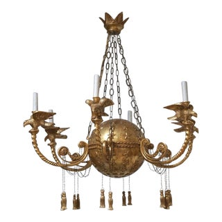 Water Gilded 22 Karat Gold Empire Chandelier For Sale