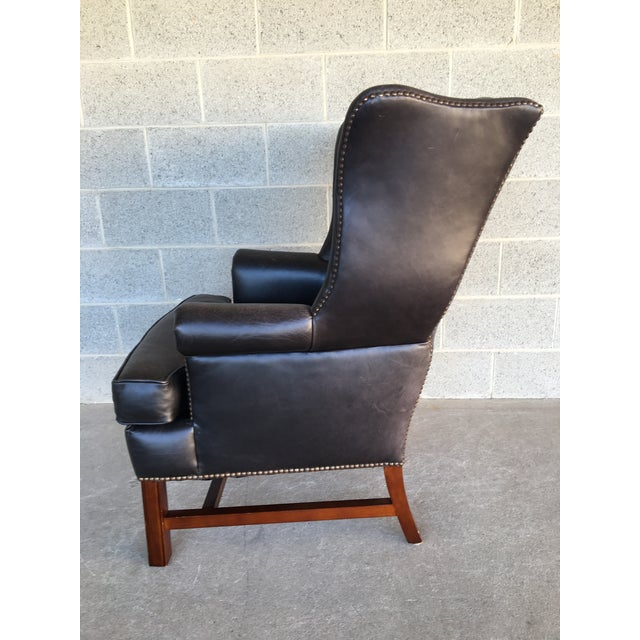 Late 20th Century Pottery Barn Thatcher Leather Wing Back Arm Chair For Sale - Image 5 of 12