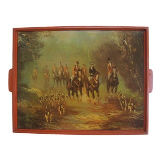 Large Bar Serving Tray Autumn Equestrian Fox Hunt Scene For Sale
