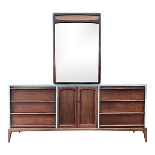 1960s Lane Furniture Mid Century Dresser With Mirror For Sale