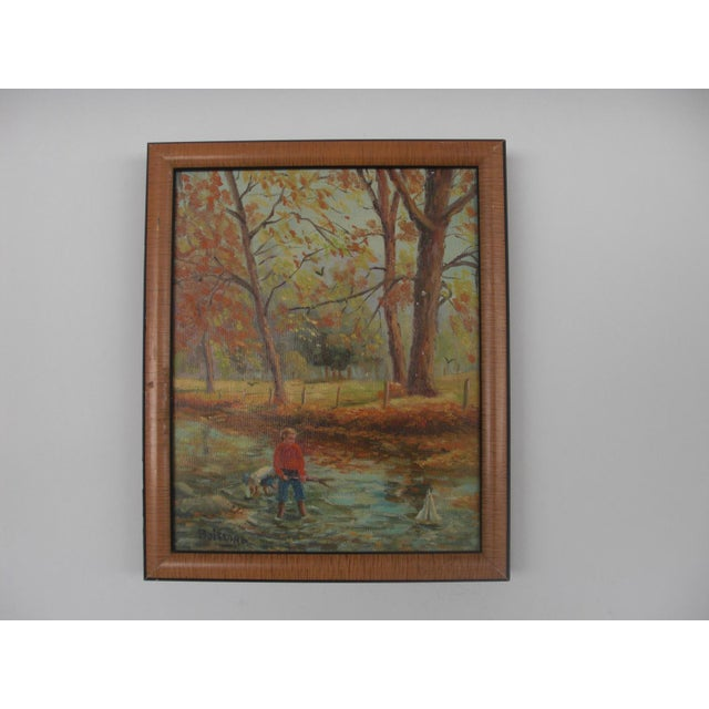 Boys Playing in the Woods Framed Oil on Canvas For Sale In Los Angeles - Image 6 of 6