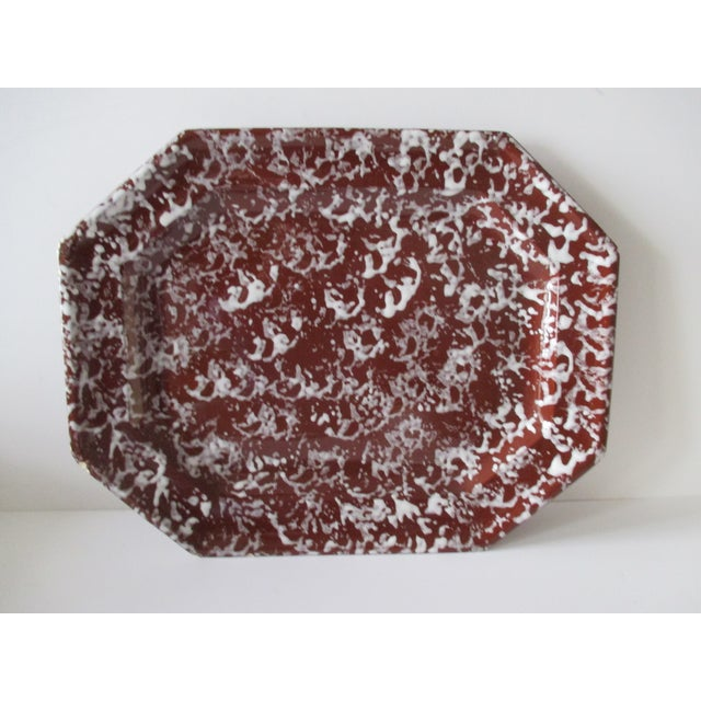 Antique Spongeware Ceramic Platter in White and Brown For Sale In Miami - Image 6 of 6