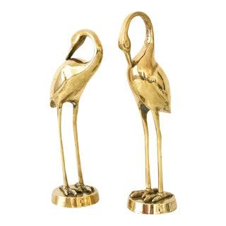 Mid-Century Solid Brass Crane Figurines - A Pair