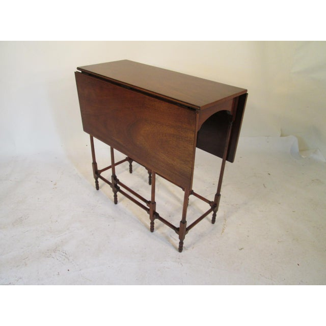 1940s Traditional Baker Drop Leaf Mahogany End Table For Sale - Image 9 of 9