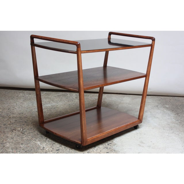 1950s American Modern Walnut Three-Tier Rolling Bar / Tea Cart With Ebonized Surface For Sale - Image 5 of 13