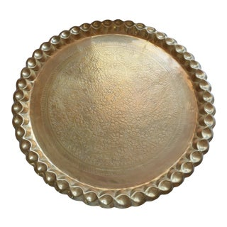 Antique Round Brass Tray For Sale