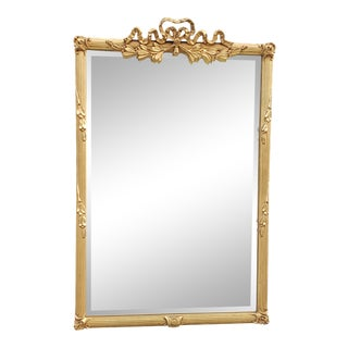 Carver's Guild French Louis XV Style Antique Gold Bow Top Mirror For Sale