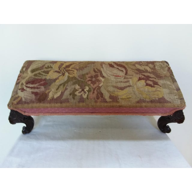 Traditional Antique Tapestry Footstool With Carved Mahogany Legs For Sale - Image 3 of 4