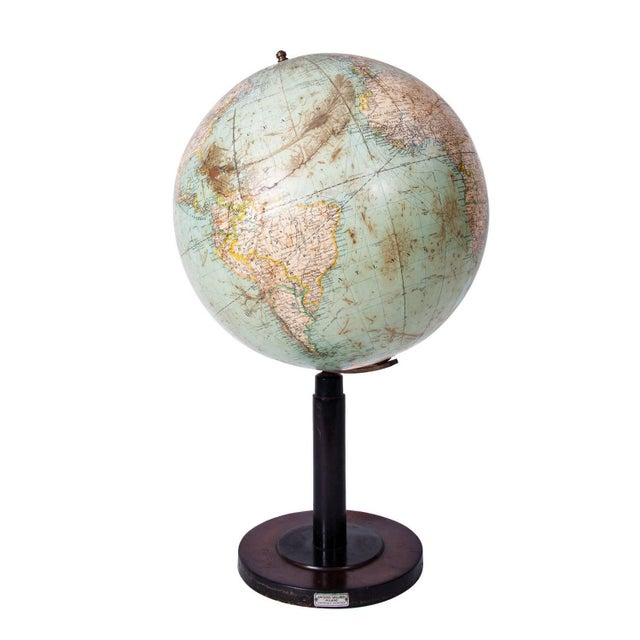 Wood Early 20th Century Tall Globe on Black Wood Stand From Italy For Sale - Image 7 of 7