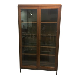 Maxine Snider Inc. Collector's Walnut, Glass With Steel Base Cabinet For Sale
