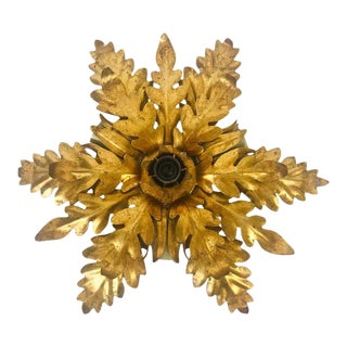 Golden Florentine Flower Shape Flushmount by Hans Kögl, Germany, 1970s For Sale