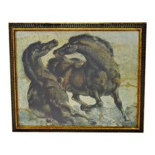 Vintage Framed Equestrian Black Wild Horses Print on Board For Sale