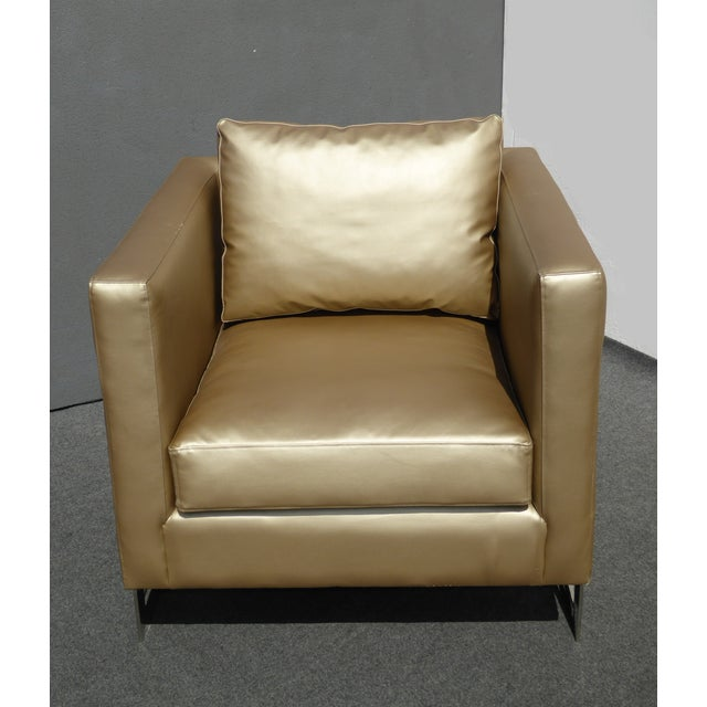 Contemporary Mid Century Gold Chrome Club Chair Contemporary Modern Style For Sale - Image 3 of 11
