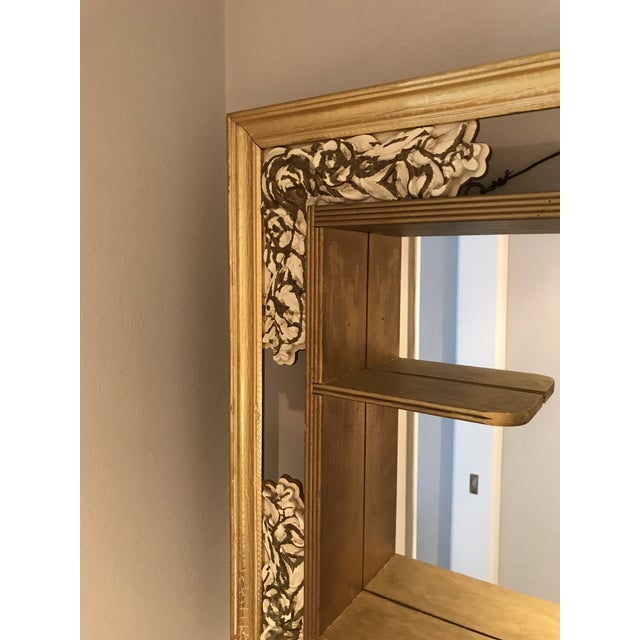 Mid 20th Century Mid-Century Modern Gilded Shadow Box Mirror With Carved Roses For Sale - Image 5 of 9