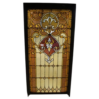 Antique 19th Century Reclaimed Stained Glass Church Window For Sale