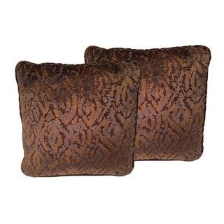 Luxe Copper & Navy Cut Velvet Designer Pillows - a Pair