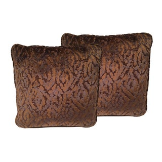 Luxe Copper & Navy Cut Velvet Designer Pillows - a Pair For Sale